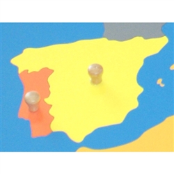 Spain - Puzzle Piece Of Europe (Wood Knob)